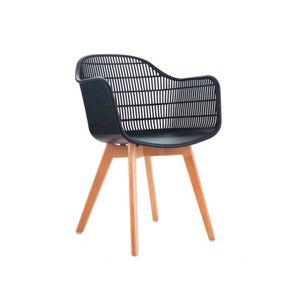 Cadeira-Agnes-Com-Braco-Preto-Base-Em-Madeira